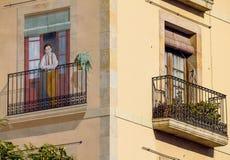Ecke eines Gebäudes in Barcelona stockfoto