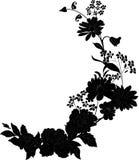 Ecke mit Schattenbild des Grases und der Blumen lizenzfreie abbildung