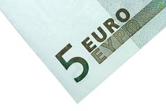 Ecke von fünf Euro Bill Stockfotos