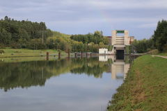 Eckersmuehlen lock on the Rhine-Main-Danube Canal.  Royalty Free Stock Photography