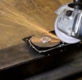 Eckige Schleiferreinigungsdaten vom Festplattenlaufwerk stockfotografie