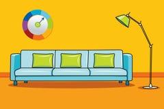Eckiges Sofa und Abendessenlastwagen im Innenraum Stockfotografie