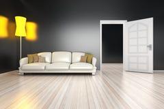 Eckiges Sofa und Abendessenlastwagen im Innenraum Lizenzfreie Stockfotografie