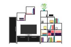 Eckiges Sofa und Abendessenlastwagen im Innenraum Möbel und Wohnaccessoires Lizenzfreie Stockfotografie