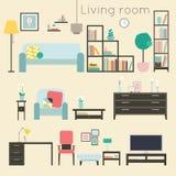 Eckiges Sofa und Abendessenlastwagen im Innenraum Möbel und Wohnaccessoires, einschließlich Sofas, lo Lizenzfreie Abbildung