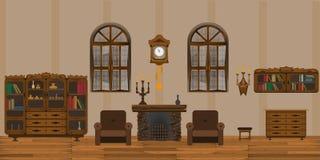 Eckiges Sofa und Abendessenlastwagen im Innenraum lizenzfreie abbildung