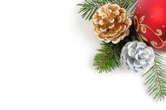 Eckkombination der Weihnachtsdekorationen Lizenzfreies Stockbild
