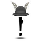 Eclaimation与飞过的常礼帽的标记面孔 库存图片