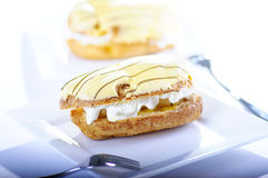 Eclair with banana Stock Photo