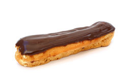 Eclair with chocolate fudge. On a white background Stock Images
