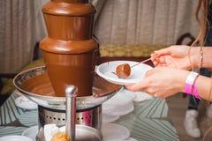 Eclair di cioccolato con gli ingredienti Immagini Stock