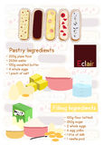 Eclair. Pastry filling ingredients dessert Royalty Free Stock Images