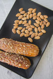 Eclairs with almonds Royalty Free Stock Photography