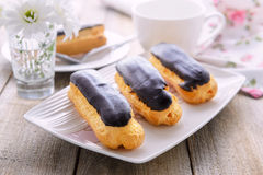 Eclairs with custard Royalty Free Stock Photography