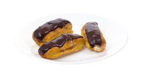 Eclairs on Plate Stock Photo