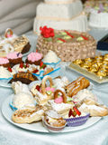 Eclairs sweets with cream sprinkled sugar powder. Baking sweets for dessert in the shop window Stock Photos