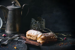 Eclairs with white chocolate Royalty Free Stock Photo