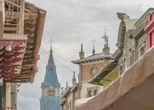 Eclectic Architecture in Cuenca, Ecuador. Low angle view of old style or eclectic architecture at Cuenca, Ecuador Stock Images