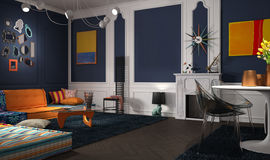 Eclectic and classic lounge. 3d illustration Stock Image
