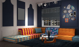 Eclectic and classic lounge. 3d illustration Royalty Free Stock Photo