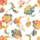 Eclectic fabric plaid seamless pattern with baroque ornament. Stock Photos
