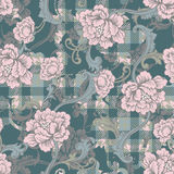 Eclectic fabric plaid seamless pattern with baroque ornament. Stock Image