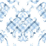 Eclectic fabric plaid seamless pattern with baroque ornament. Royalty Free Stock Photos