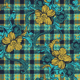 Eclectic fabric plaid seamless pattern with baroque ornament. Stock Photography