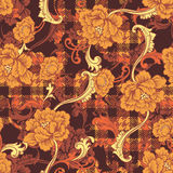 Eclectic fabric plaid seamless pattern with baroque ornament. Stock Photo