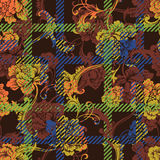 Eclectic fabric plaid seamless pattern with baroque ornament. Stock Images