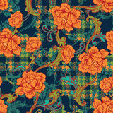 Eclectic fabric plaid seamless pattern with baroque ornament. Royalty Free Stock Images