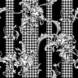 Eclectic fabric plaid seamless pattern with baroque ornament. Royalty Free Stock Photo
