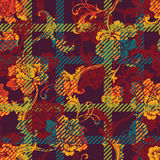 Eclectic fabric plaid seamless pattern with baroque ornament. Royalty Free Stock Image