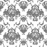 Eclectic fabric plaid seamless pattern with baroque ornament. Royalty Free Stock Photography