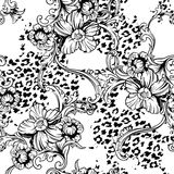 Eclectic fabric seamless pattern. Animal background with baroque ornament. Vector illustration vector illustration