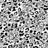Eclectic fabric seamless pattern. Animal background with baroque ornament. Vector illustration stock illustration