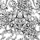 Eclectic fabric seamless pattern. Animal background with baroque ornament. Vector illustration royalty free illustration