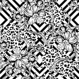 Eclectic fabric seamless pattern. Animal and geometric background with baroque ornament. Vector illustration vector illustration