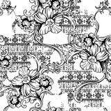 Eclectic fabric seamless pattern. Ethnic background with baroque ornament. Stock Photography