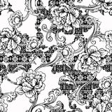 Eclectic fabric seamless pattern. Ethnic background with baroque ornament. Stock Photo