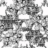 Eclectic fabric seamless pattern. Ethnic background with baroque ornament. Royalty Free Stock Photo