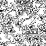 Eclectic fabric seamless pattern. Ethnic background with baroque ornament. Stock Image
