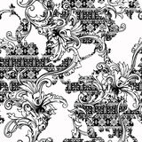 Eclectic fabric seamless pattern. Ethnic background with baroque ornament. Royalty Free Stock Photos