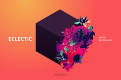 Eclectic futuristic background with 3d object. Bright crystal texture. Chaotic minimal design element for banners. Eclectic futuristic background with 3d object royalty free illustration