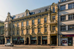 Eclectic tenement. Built in 1890 in the style of Historicism with elements of Neo-Baroque on July 17, 2015 in Katowice, Poland. On the ground floor restaurant Stock Images