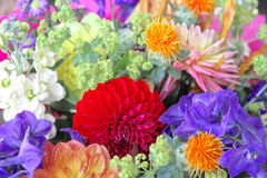 Eclectic Wedding Flowers Bouqet. Close up of an eclectic wedding bouqet of multi colored flowers royalty free stock photo