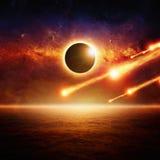 Eclipce completo do sol, impacto asteroide ilustração royalty free