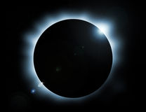 Eclipse. Blue glow eclipse with stars in background stock illustration