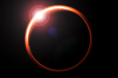 Eclipse. Digital illustration of lunar eclipse red and black stock illustration