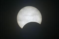 Eclipse. A partial eclipse of the sun. It's been taken through the special solar filter Stock Photography